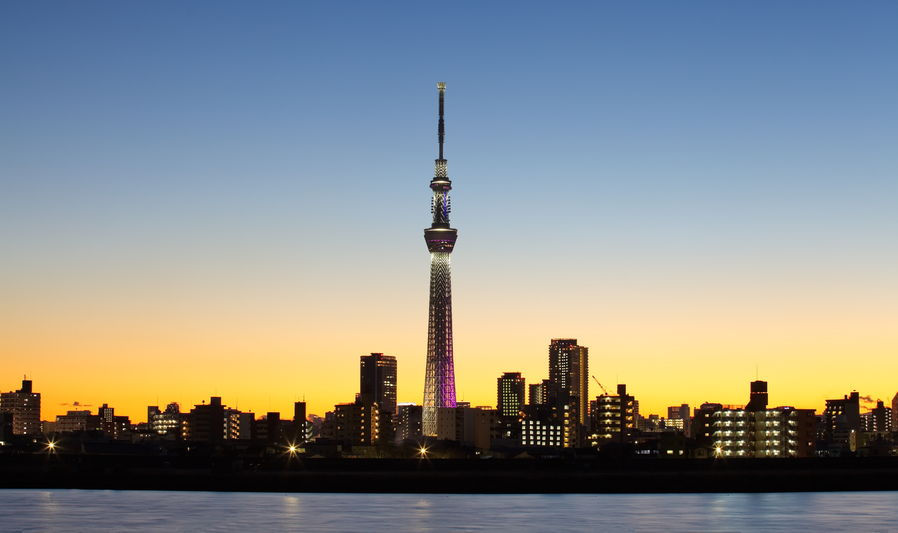 25157066 - tokyo city view and tokyo skytree with mt fuji , sihouette skyline