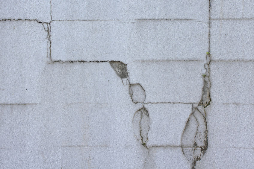 46836195 - wall of cracked concrete block