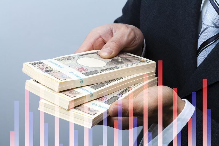 50403270 - businessmen get money