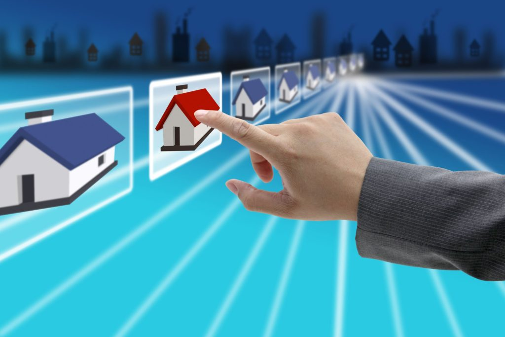 10798713 - man hand finding new property in real estate market with electronic commerce concept